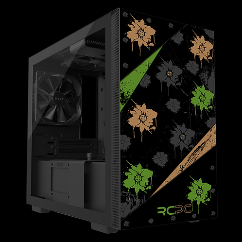 NZXT H210 Green-Brown-Black-Grey Floral Grunge Wrap