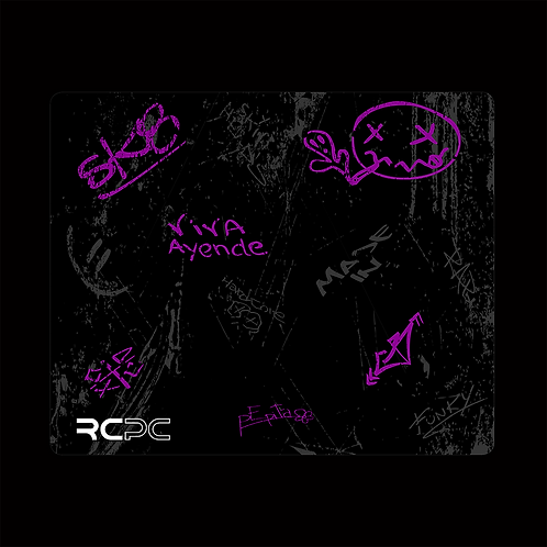 Purple-Black-Grey Graffiti Grunge Mouse Pad
