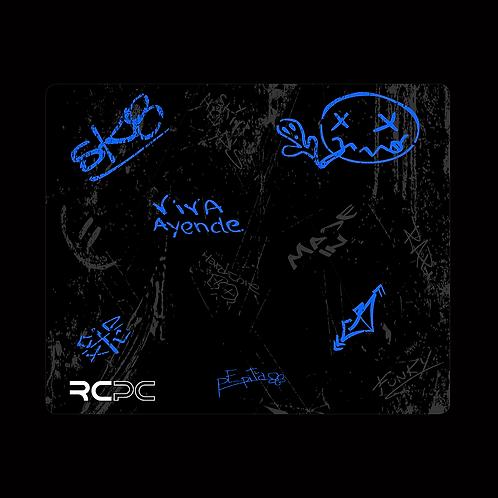 Blue-Black-Grey Graffiti Grunge Mouse Pad