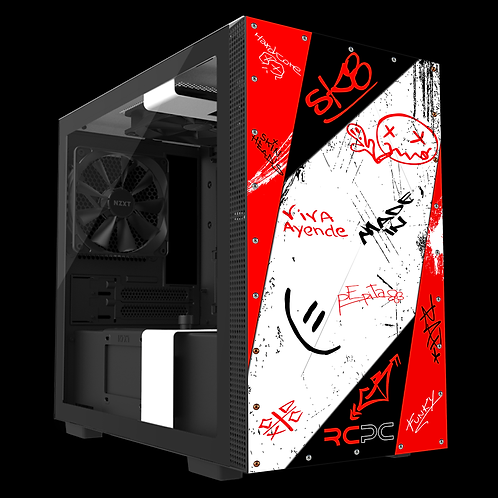 NZXT H210 Red-Black-White Graffiti Grunge Wrap