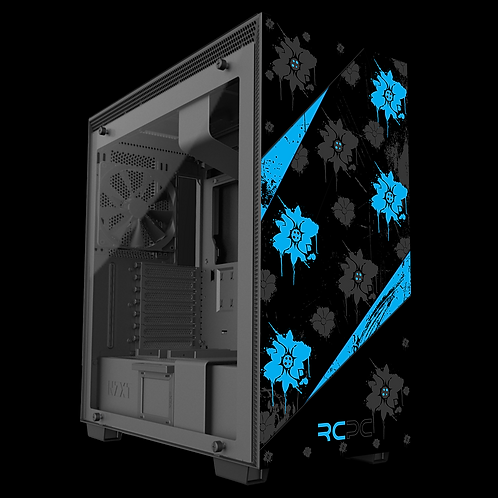 NZXT H710 Turquoise-Black-Grey Floral Grunge Wrap