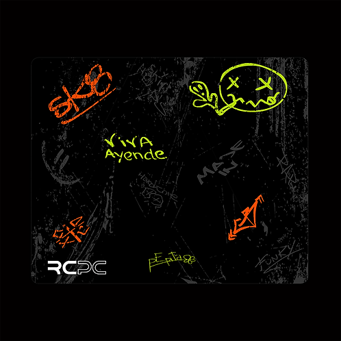Orange-Zingy Lime-Black-Grey Graffiti Grunge Mouse Pad