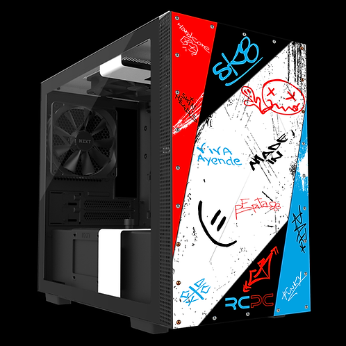 NZXT H210 Red-White-Turquoise-Black Graffiti Grunge Wrap