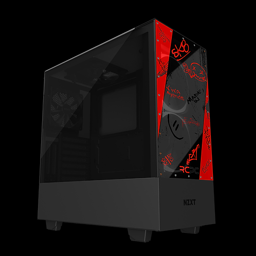 NZXT H510 Elite Red-Grey-Black Graffiti Grunge Wrap