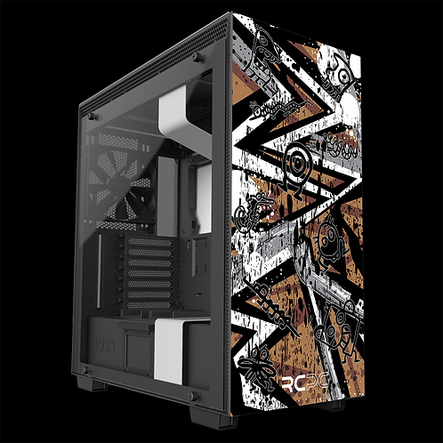 NZXT H710 Brown-Grey-White Abstract Grunge Wrap