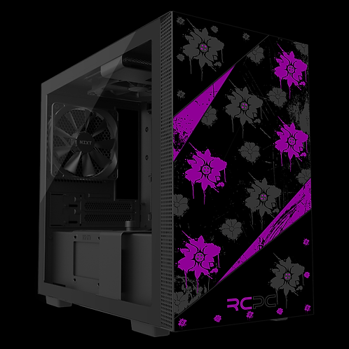 NZXT H210 Purple-Black-Grey Floral Grunge Wrap