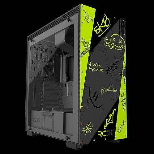 NZXT H710 Zingy Lime-Black-Grey Graffiti Grunge Wrap