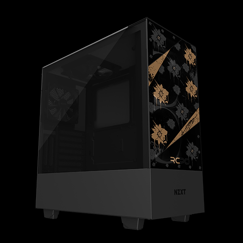 NZXT H510 Elite Brown-Black-Grey Floral Grunge Wrap