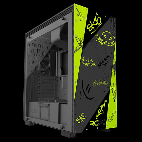 Zingy Lime-Black-Grey Graffiti Grunge Wrap