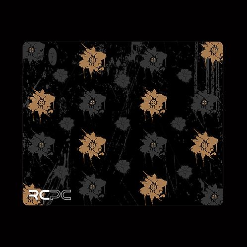 Brown-Black-Grey Floral Grunge Mouse Pad