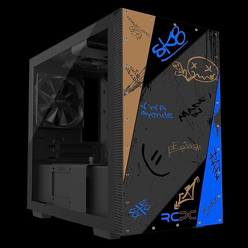 NZXT H210 Brown-Blue-Grey-Black Graffiti Grunge Wrap