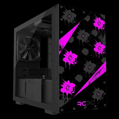 NZXT H210 Pink-Black-Grey Floral Grunge Wrap