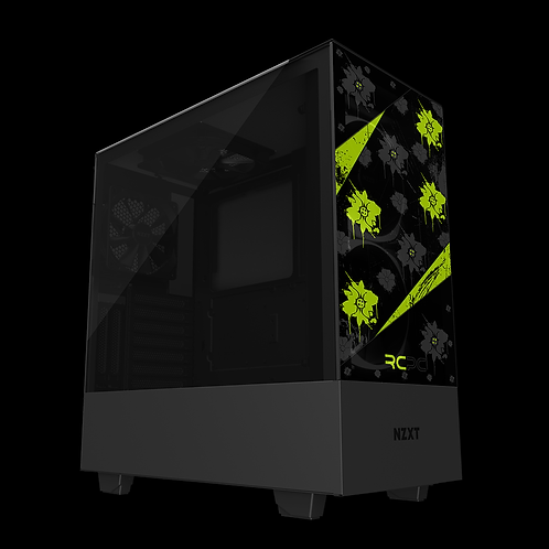 NZXT H510 Elite Zingy Lime-Black-Grey Floral Grunge Wrap