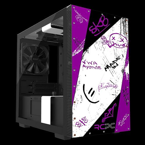 NZXT H210 Purple-Grey-Black-White Graffiti Grunge Wrap