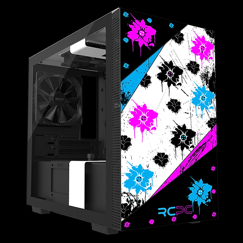 NZXT H210 Turquoise-Pink-Black-White Floral Grunge Wrap