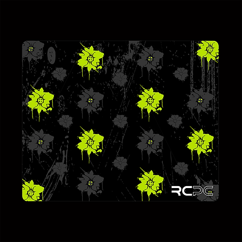 Lime-Black-Grey Floral Grunge Mouse Pad
