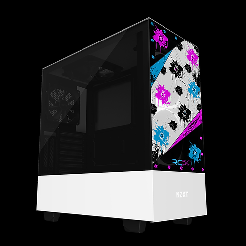 NZXT H510 Elite Turquoise-Pink-Black-White Floral Grunge Wrap