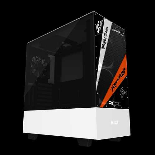 NZXT H510 Elite Orange-White-Carbon Fibre-Black GT Sport Wrap