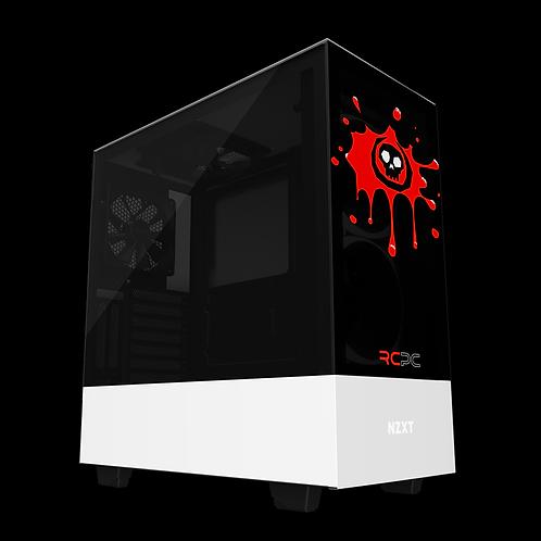 NZXT H510 Elite Black-Red-White Skull Splat Wrap