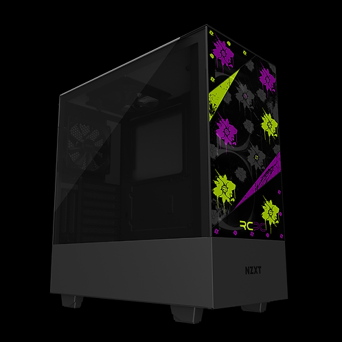 NZXT H510 Elite Zingy Lime-Purple-Black-Grey Floral Grunge Wrap