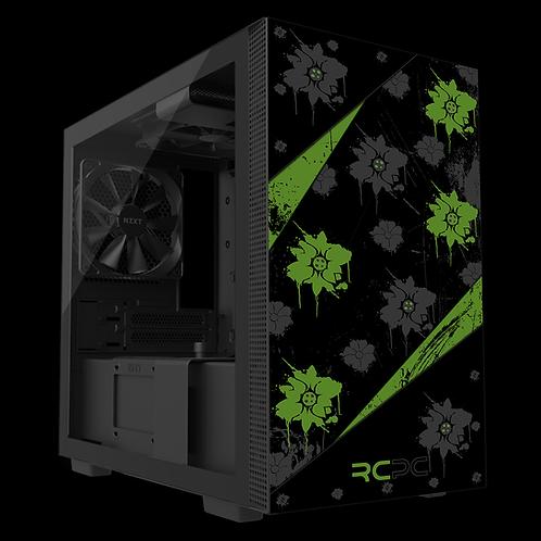 NZXT H210 Green-Black-Grey Floral Grunge Wrap