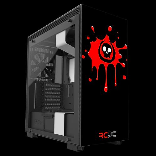 NZXT H710 Black-Red-White Skull Splat Wrap