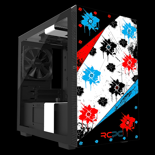 NZXT H210 Red-Turquoise-Black-White Floral Grunge Wrap