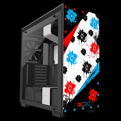 NZXT H710 Red-Turquoise-Black-White Floral Grunge Wrap