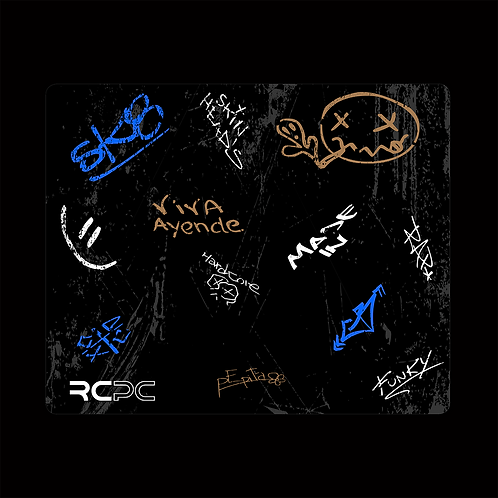 Blue-Black-Brown-White-Grey Graffiti Grunge Mouse Pad
