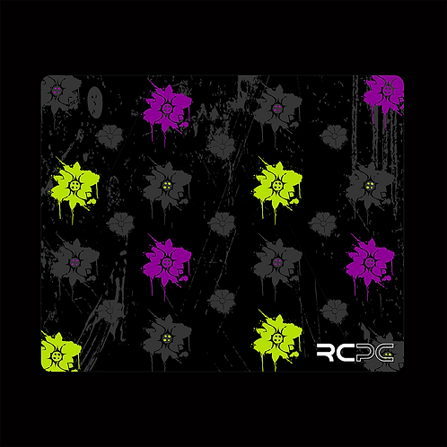 Zingy Lime-Purple-Black-Grey Floral Grunge Mouse Pad