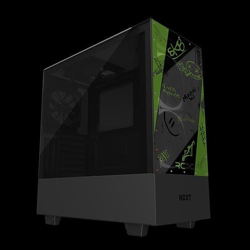 NZXT H510 Elite Green-Grey-Black Graffiti Grunge Wrap
