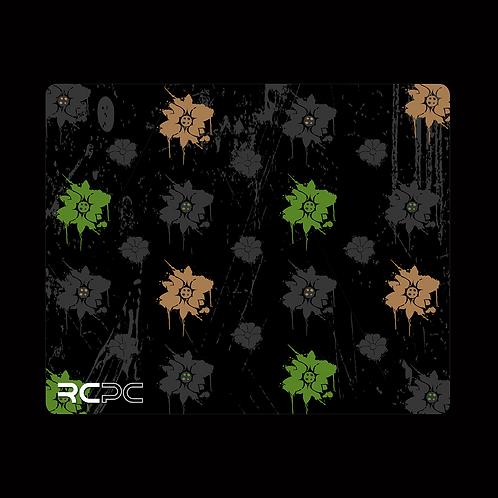 Brown-Green-Black-Grey Floral Grunge Mouse Pad