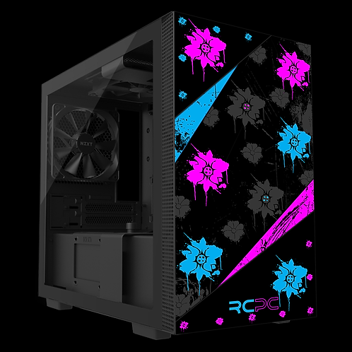 NZXT H210 Turquoise-Pink-Black-Grey Floral Grunge Wrap