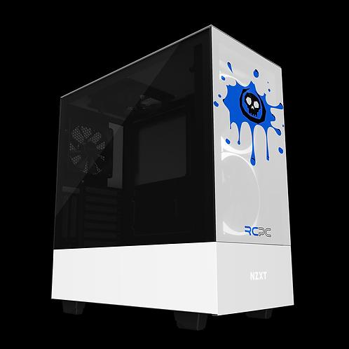 NZXT H510 Elite White-Blue-Black Skull Splat Wrap