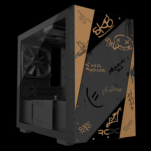 NZXT H210 Brown-Grey-Black Graffiti Grunge Wrap