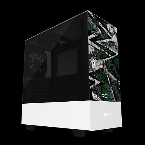 NZXT H510 Elite Green-Grey-White Abstract Grunge Wrap