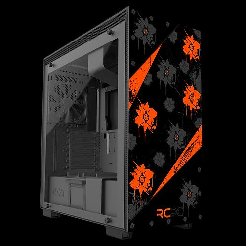 NZXT H710 Orange-Black-Grey Floral Grunge Wrap