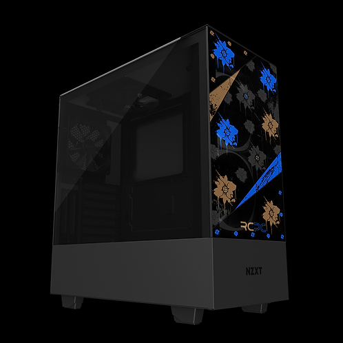 NZXT H510 Elite Blue-Black-Brown-Grey Floral Grunge Wrap