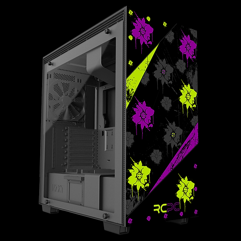 Zingy Lime-Purple-Black-Grey Floral Grunge Wrap