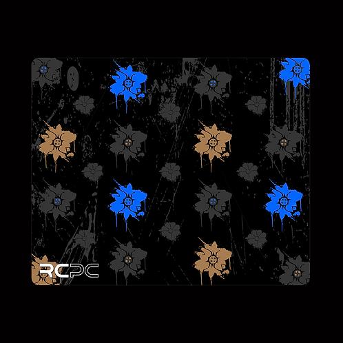 Blue-Black-Brown-Grey Floral Grunge Mouse Pad