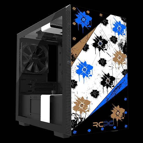 NZXT H210 Blue-Brown-Black-White Floral Grunge Wrap