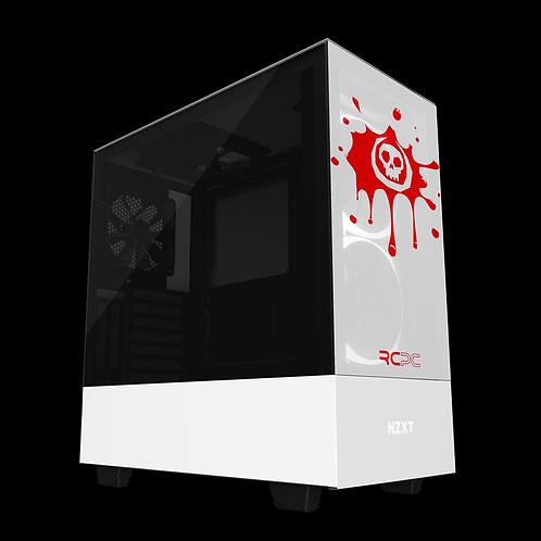 NZXT H510 Elite White-Red Skull Splat Wrap