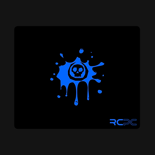 Black-Blue Skull Splat Mouse Pad