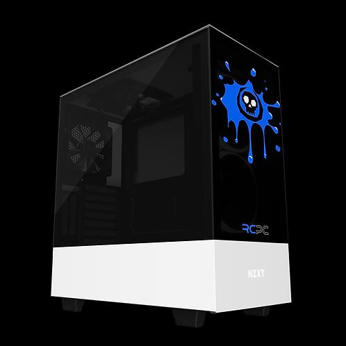 NZXT H510 Elite Black-Blue-White Skull Splat Wrap