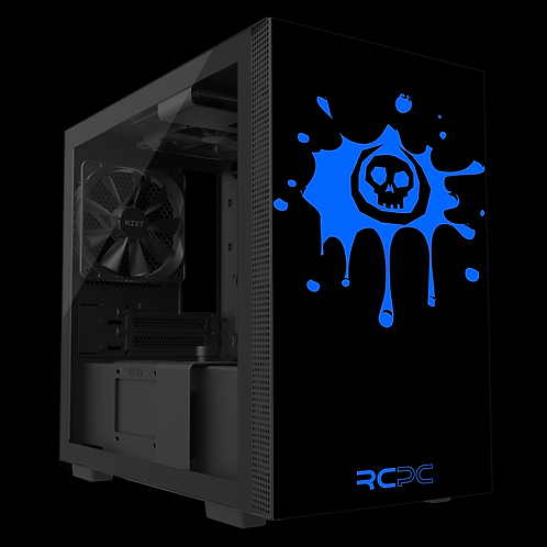 NZXT H210 Black-Blue Skull Splat Wrap