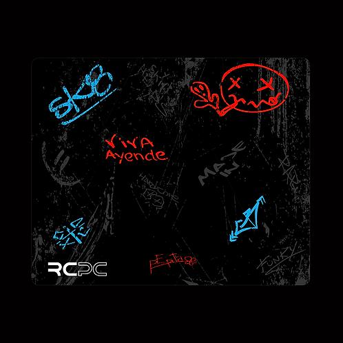 Red-Turquoise-Black-Grey Graffiti Grunge Mouse Pad