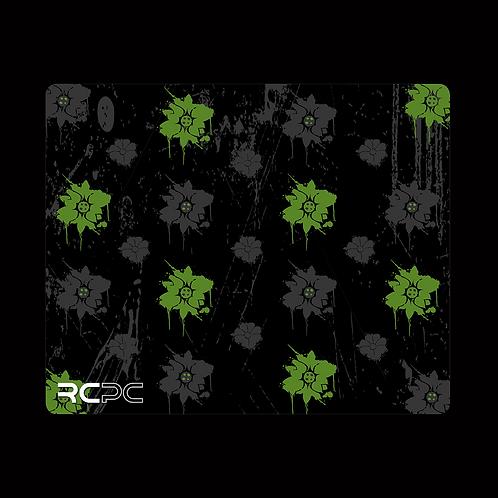 Green-Black-Grey Floral Grunge Mouse Pad