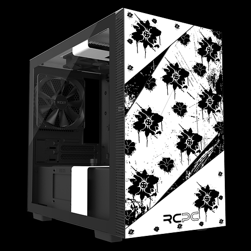 NZXT H210 Black-White Floral Grunge Wrap