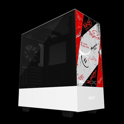 NZXT H510 Elite Red-Black-White Graffiti Grunge Wrap