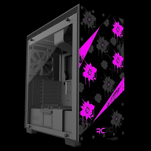 NZXT H710 Pink-Black-Grey Floral Grunge Wrap